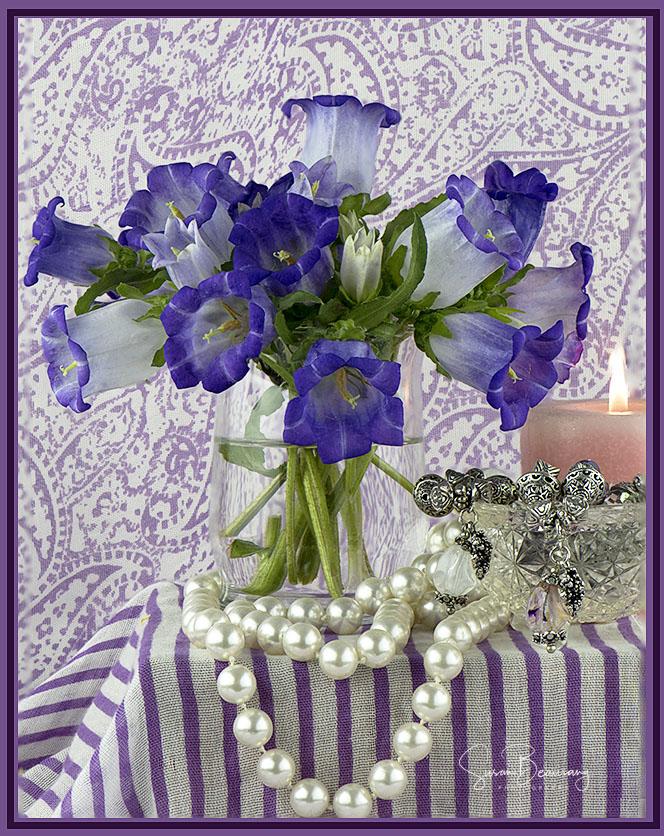 Purple Flowers, Pearls, Candle, Purple Paisley, Still Life