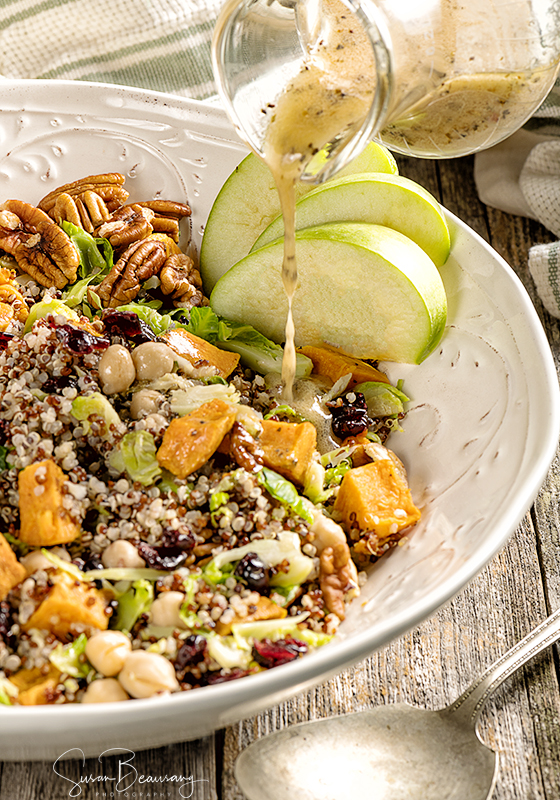 Quinoa Salad, Sweet Potatoes, Cranberries, Brussel Sprouts, Green Apples, Lemon Vinaigrette