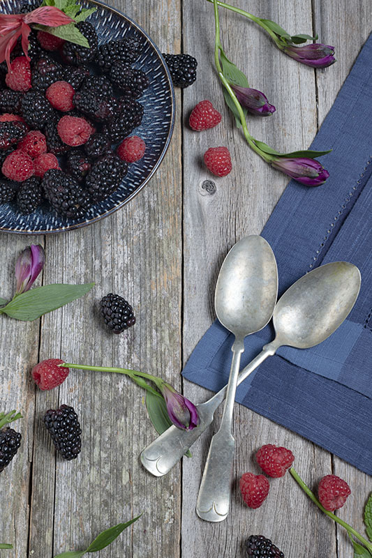 Raspberries, Blackberries, Flat lie, Food Photography, Barn Wood