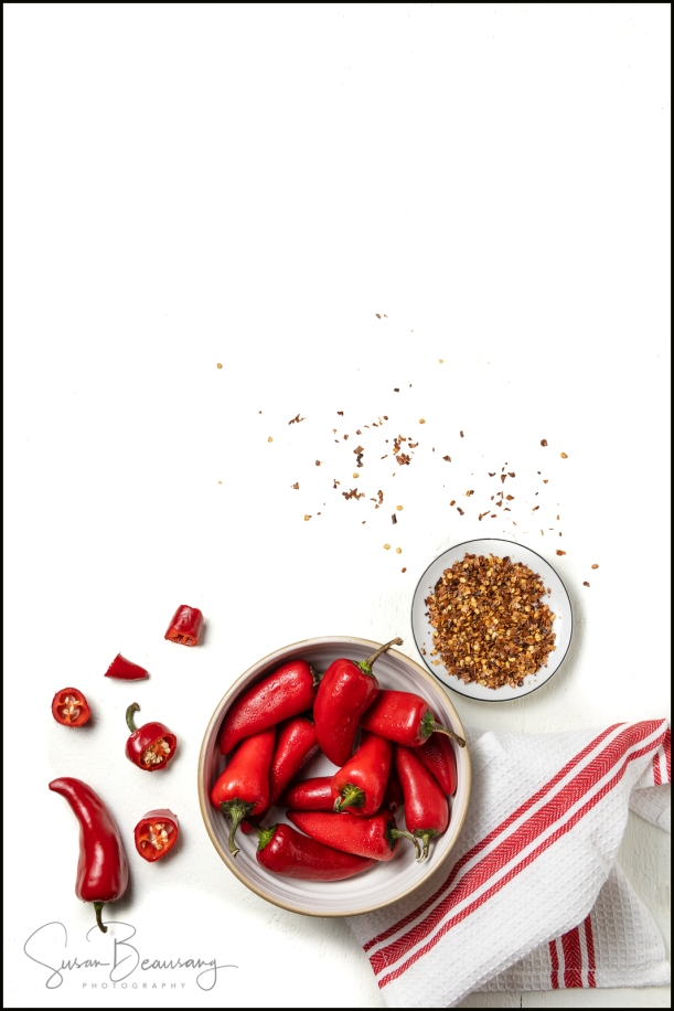 Negative Space, Red Chili Peppers, Bowl Red Chili Peppers, Cayenne Pepper, Flat Lie